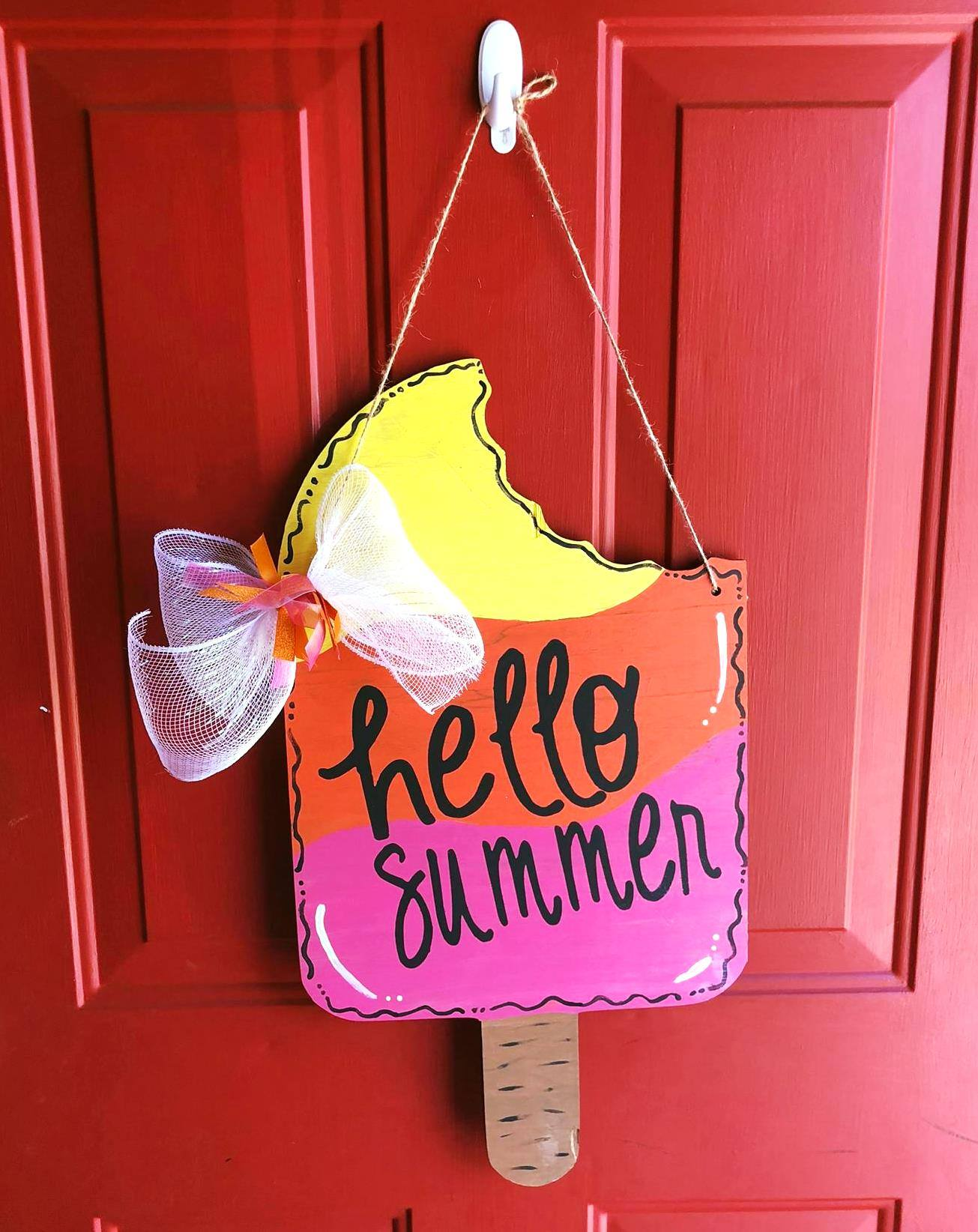 Door hanger Popsicle Hello Summer Reversible