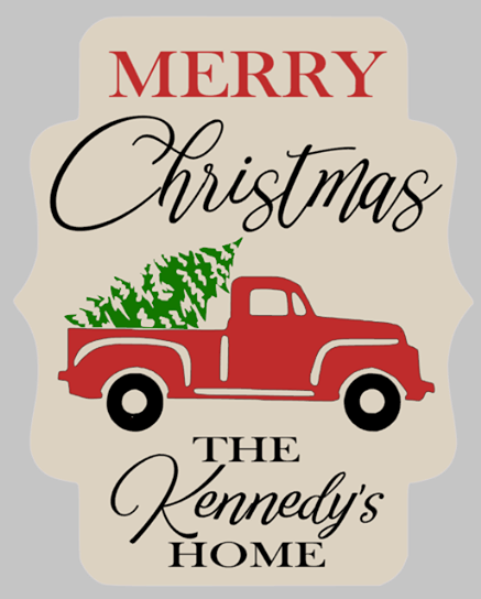 Door hanger Merry Christmas  truck with tree and family name