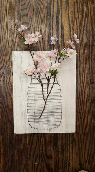 String Art  -Mason Jar with flowers