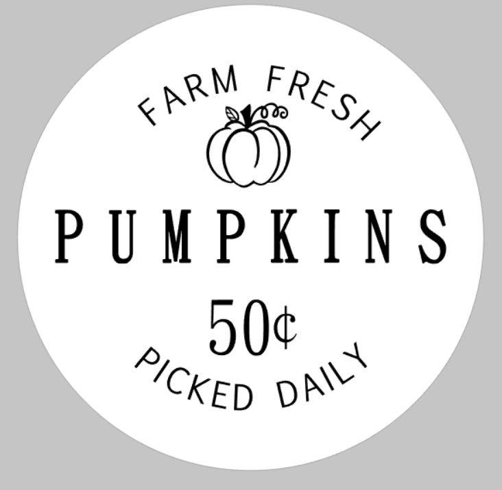 Farm Fresh pumpkins 50 cents picked daily ROUND
