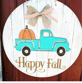 3D Door hanger Happy Fall truck