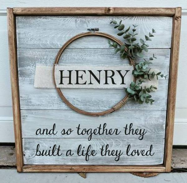 Farmhouse  Wreath sign - Last Name and so together they built