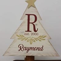 Christmas Tree - Last name with initial and Est date