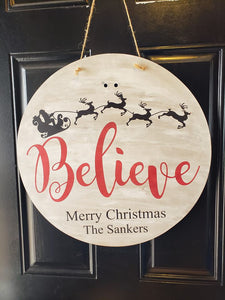 Door Hanger Believe - Merry Christmas with family name