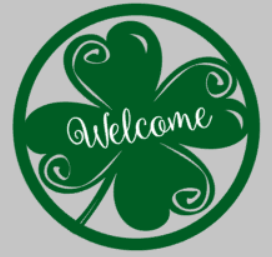 Door hanger welcome clover round