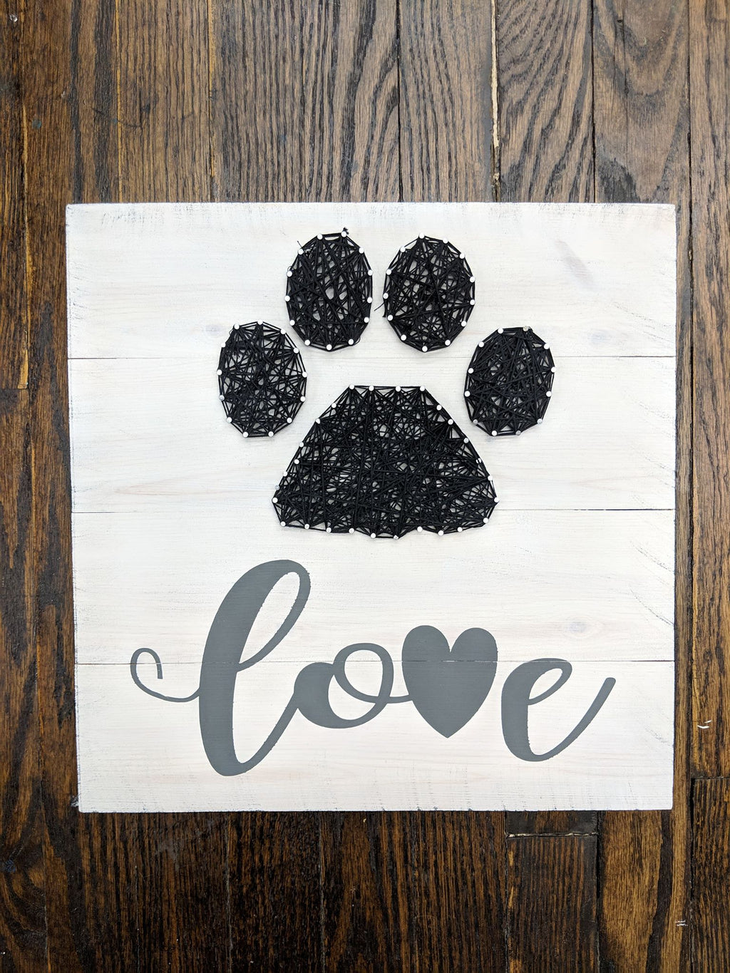 String Art  - Love with pawprint