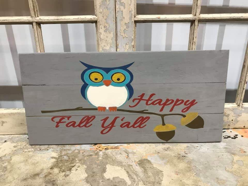 Happy Fall Y'all with owl