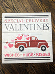 Special delivery valentines with truck and hearts
