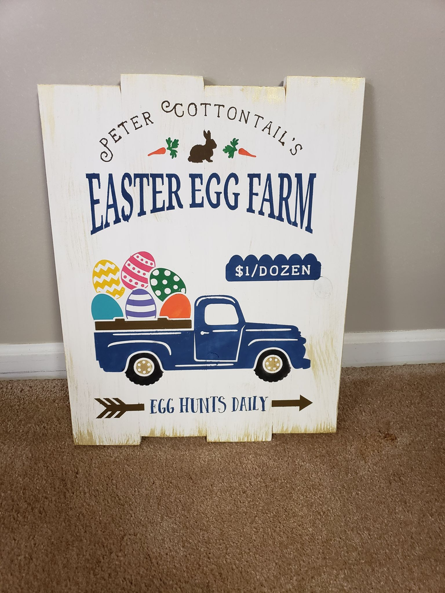 Peter Cottontail's Easter egg farm with truck