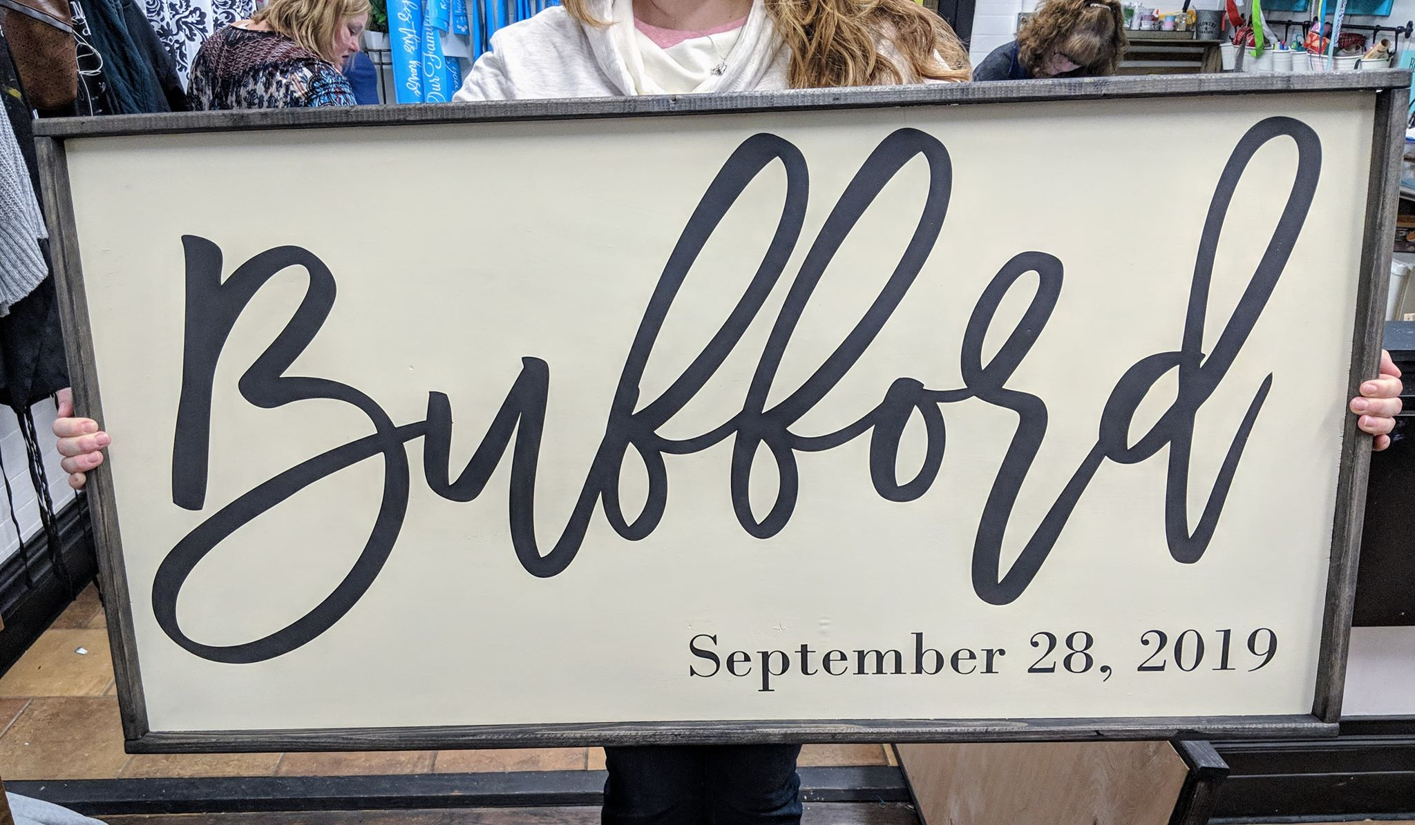 Oversized sign - Family name and Est date