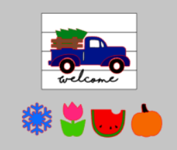 3D Seasonal interchangeable Welcome Truck 14x17