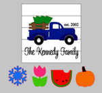 3D Seasonal interchangeable Family name Truck 17x17
