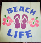 Beach Life with flip flops and flowers
