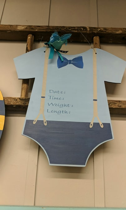 Door hanger baby boy onesie