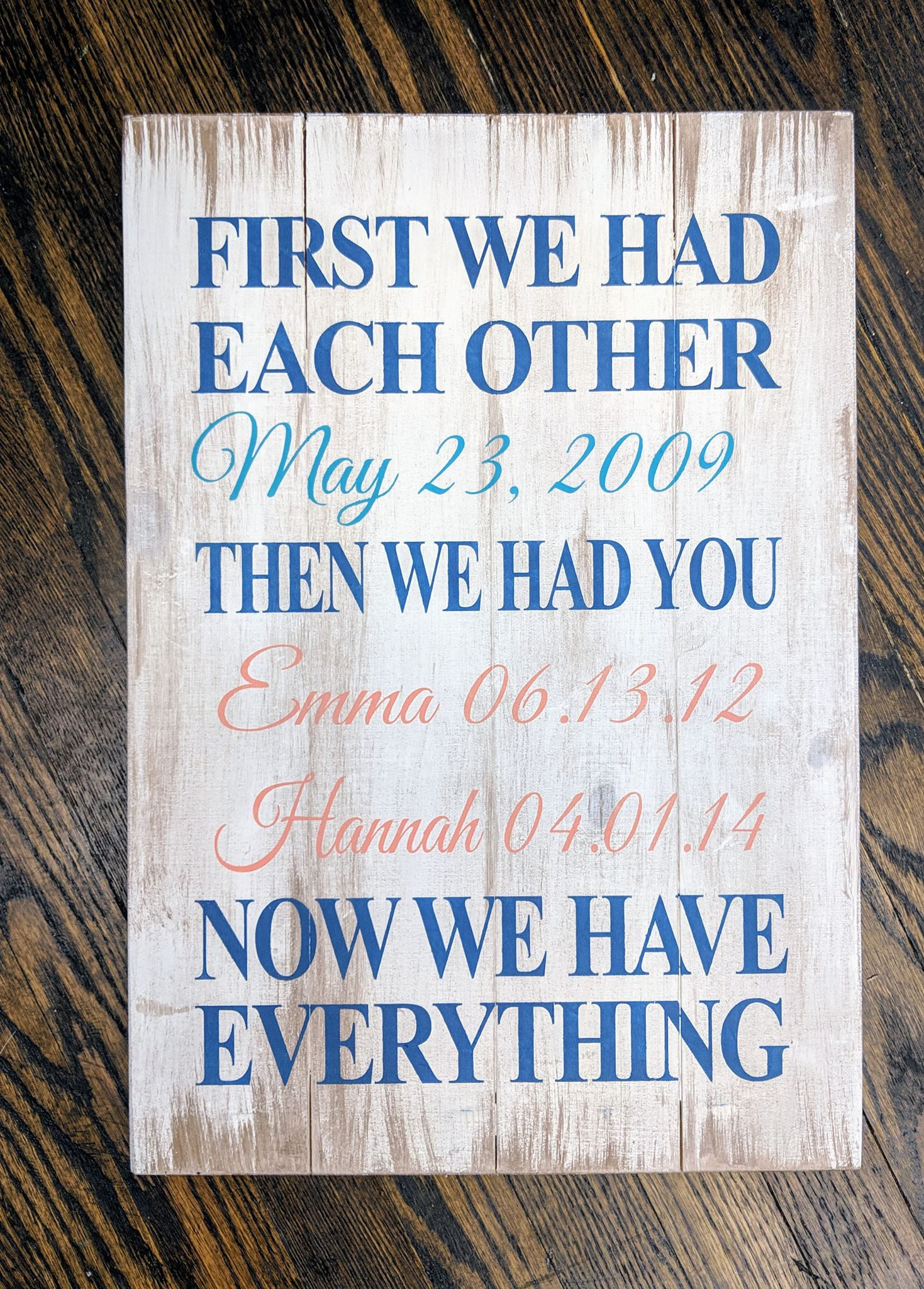 First we had each other-Date and children's names and birth dates