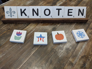 Scrabble tiles with holder