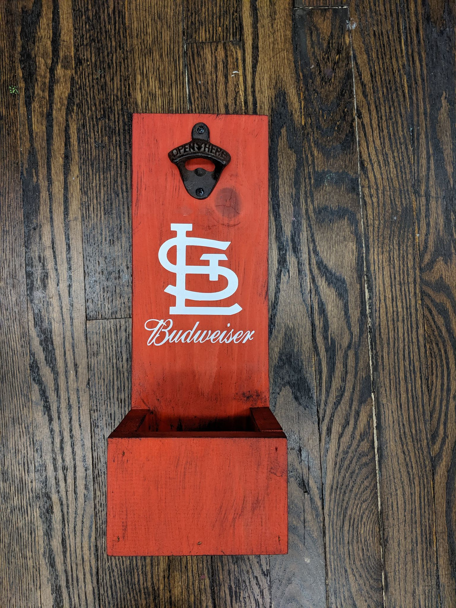 Wood Bottle Opener and Catcher