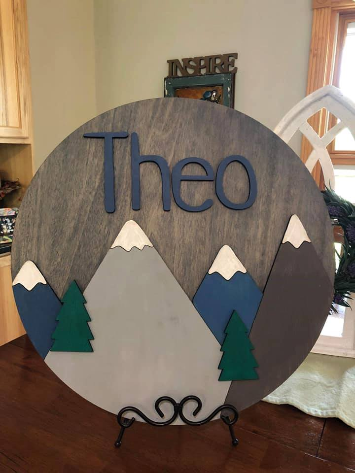 3D Name with Mountains Round Sign