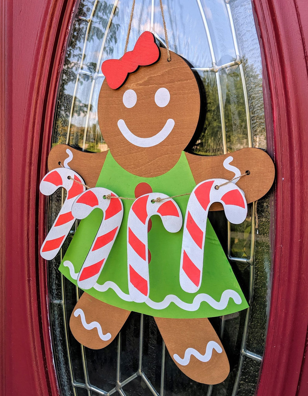 3D Door hanger Gingerbread Girl with candy canes