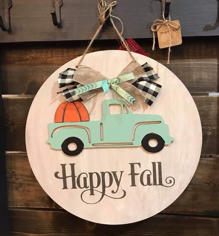 Door hanger Happy Fall truck