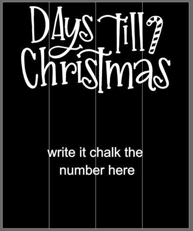 Days til Christmas with candy cane - chalkboard