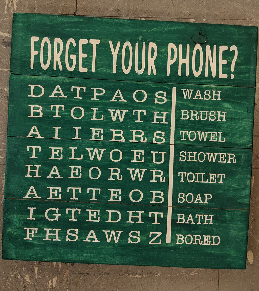 Forget your phone? Bathroom word search