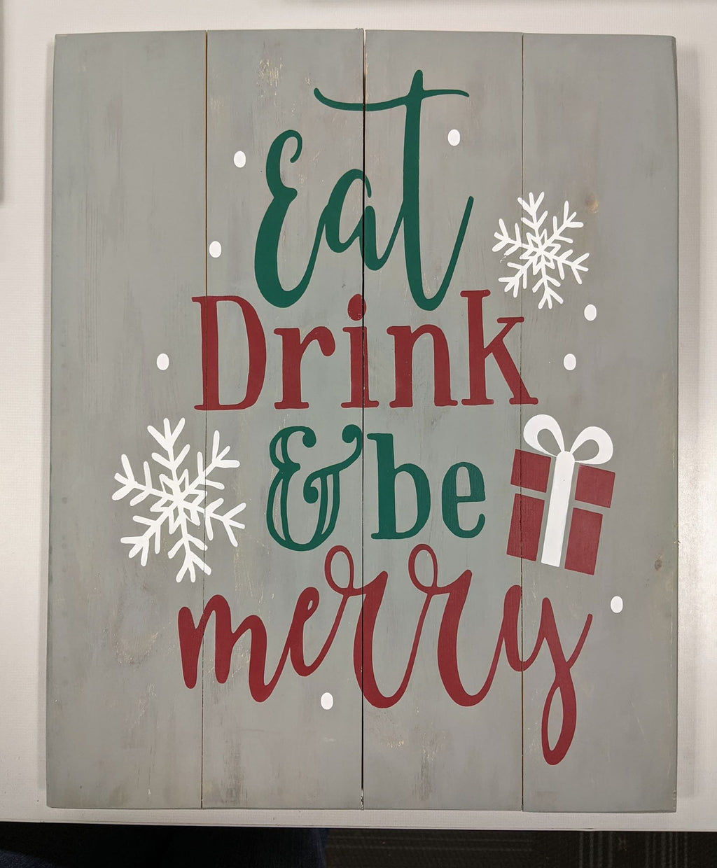 Eat drink and be merry with snowflakes and present
