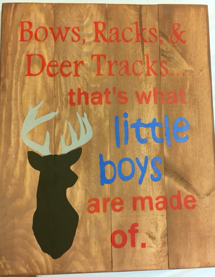 Bows, racks, & deer tracks that's what little boys are made