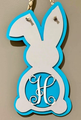 Door hanger Bunny with Letter or Hello