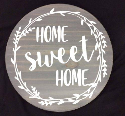Lazy Susan - Home sweet home with wreath