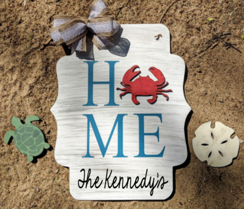 3D interchangeable door hanger Home with family name (Beach 3D Pieces)