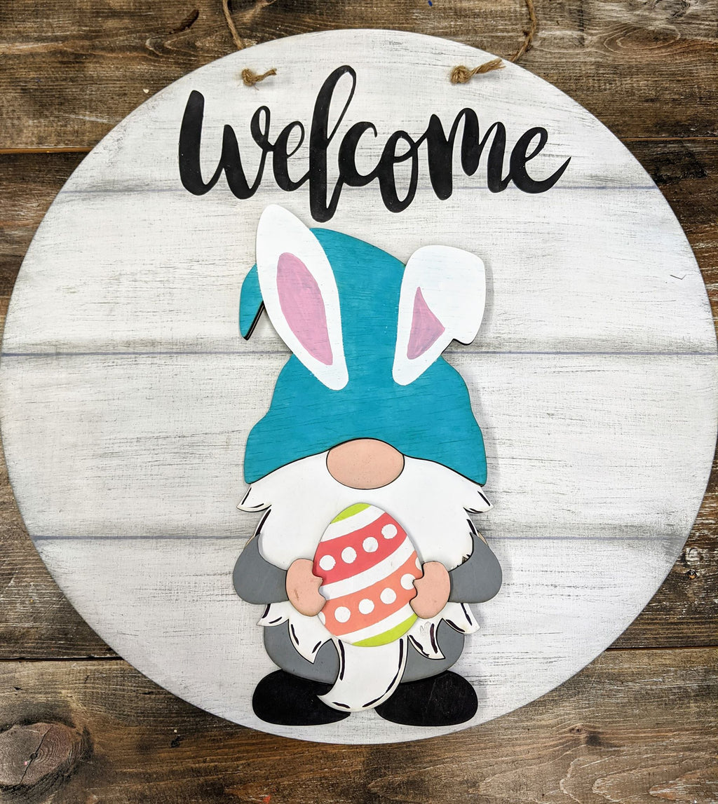 3D Door Round- Easter Bunny Gnome Welcome