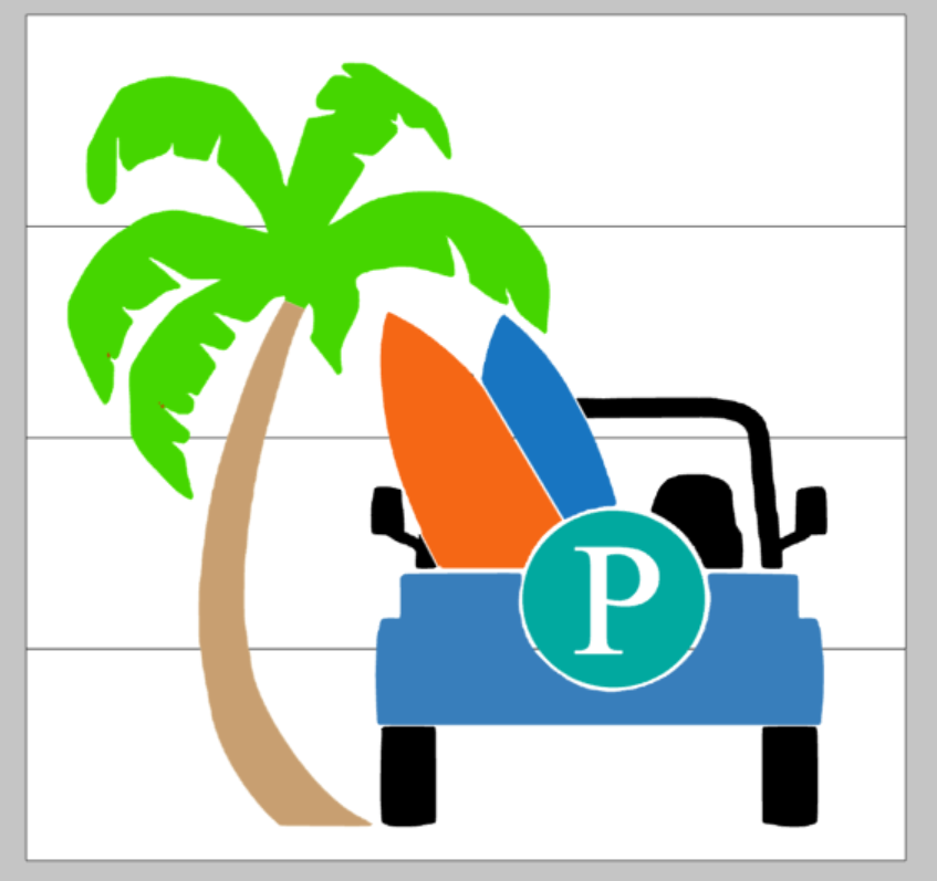 Jeep with Letter and Palm tree