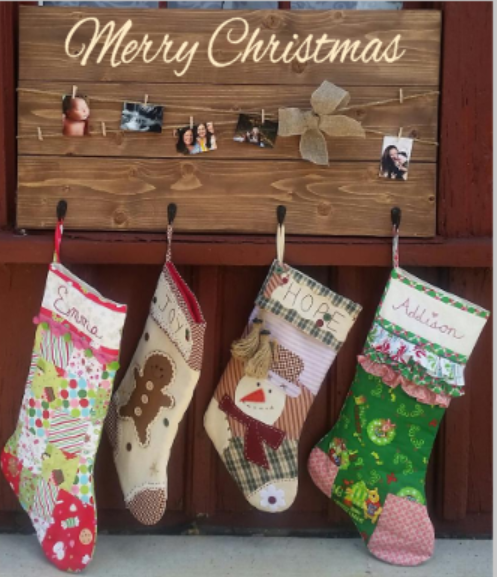 Merry Christmas stocking and card hanger with 4 hooks