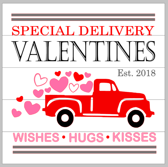Special Delivery Valentines With Truck And Hearts Mommys Design Farm