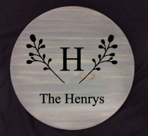 Lazy Susan - Monogram with berry branches The (last name at bottom) (Henrys shown)