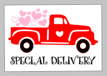 Valentines Day Tiles - Special Delivery Truck with Hearts