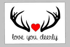 Valentines Day Tiles - Love you dearly with heart and antlers