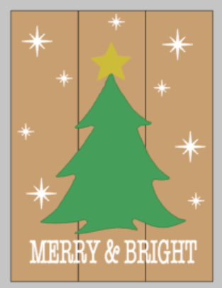 String Art  - Merry and Bright with Christmas tree