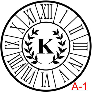 Clock - Roman Numerals with border insert laurel with letter  (A-1)