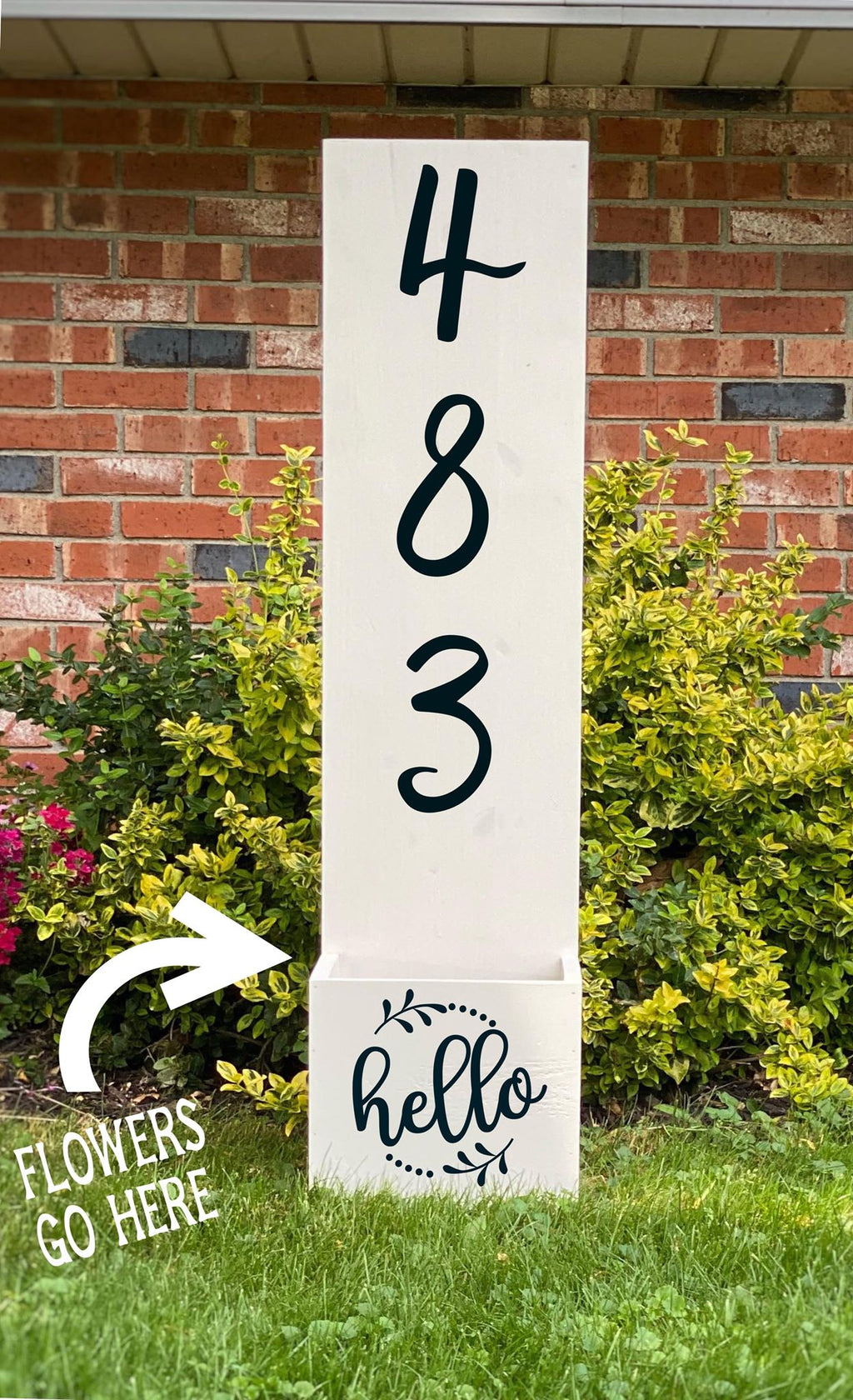 Porch Planter - House number with hello