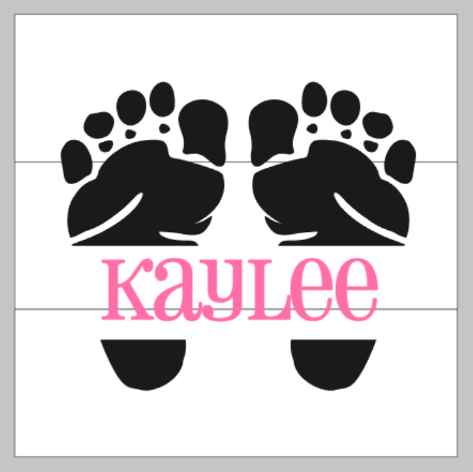 Baby feet with name