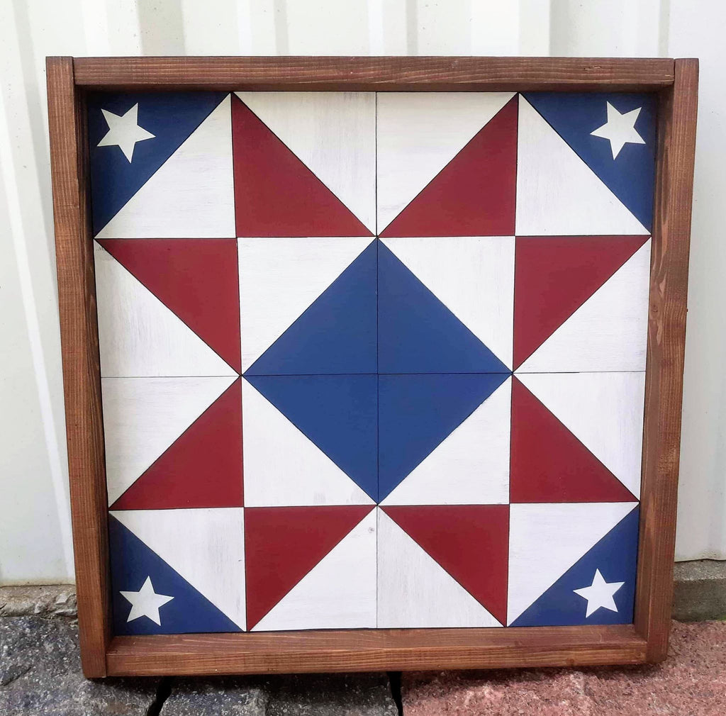 3D Barn Quilt Patriotic with stars