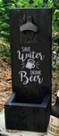 Wood bottle opener and catcher Save water drink beer