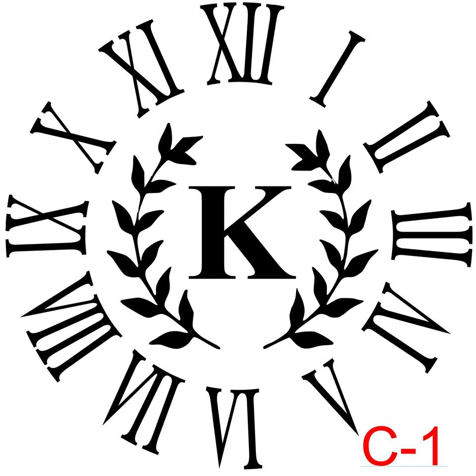 Clock - Roman Numerals with no border insert laurel with letter (C-1)