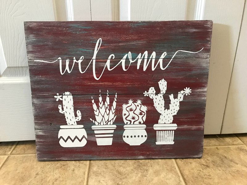 Welcome with cactus
