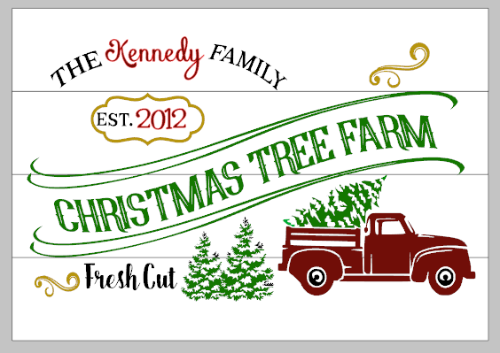 Christmas tree farm with truck family name and est date