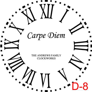 Clock - Roman Numerals with Dotted Border insert Carpe Diem with family name and est date (D-8)
