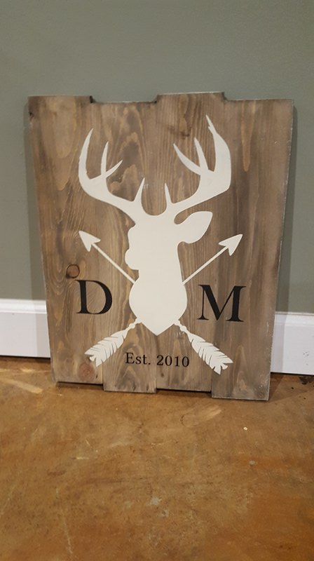 Deer with arrows-with initials and est date