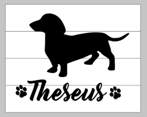 Dog Silhouette with name and paw prints